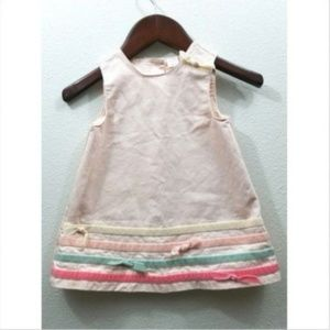 Other - Girls Pastel Striped Button Back Shift Dress Bows